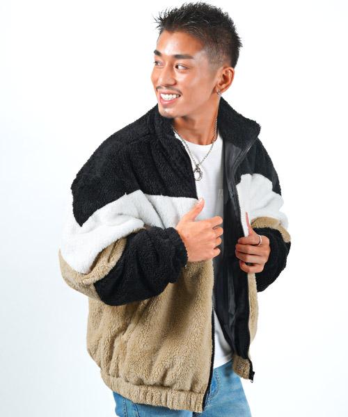 セール】ボアZIP切替スタンドジャケット/スタンドジャケット