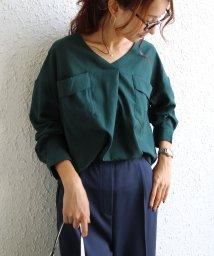 and Me.../両胸ポケット長袖スキッパーシャツブラウス/502656100