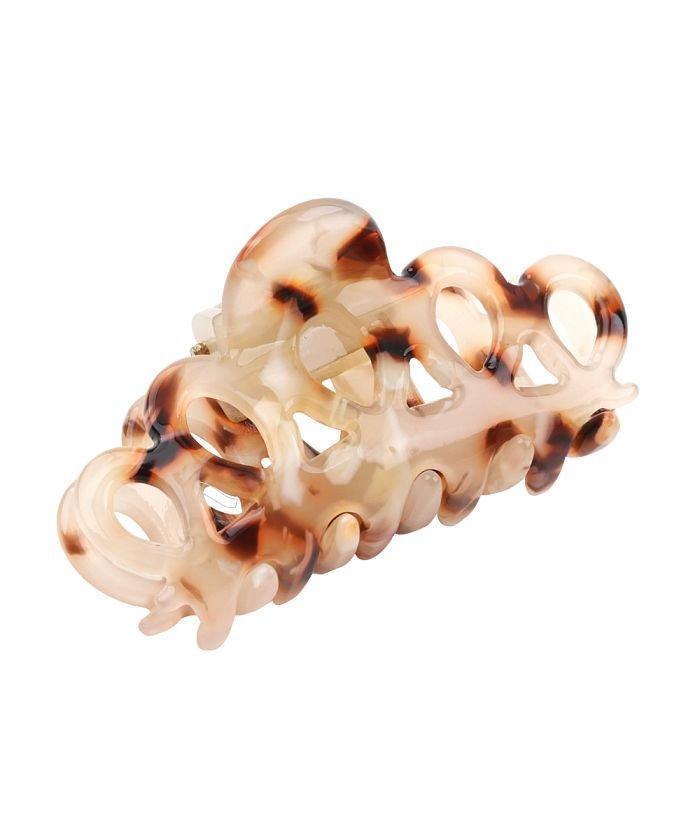 クリームドット 透かしマーブルが軽やかなミニサイズのバンスクリップ レディース キャメル ワンサイズ 【cream dot】