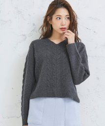 Perle Peche OUTLET/ウールケーブルVニット/502660593