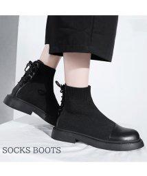 miniministore/ショートブーツ レディース 靴 ブーティ ソックスブーツ ワークブーツ 厚底 ローヒール ブラック/502660623