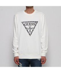 GUESS/ゲス GUESS CHECK TRIANGLE LOGO SWEAT (WHITE)/502664211