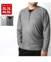 MARUKAWA/大きいサイズ ブークレ Vヘンリーネック 長袖Tシャツ/502626066