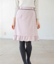 tocco closet/フラワーパール付き配色ライン入り裾フリル台形スカート/502652640