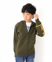 GLAZOS/裏毛・袖プリントジップアップパーカー/502668203