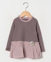 petit main/お花ペプラムテレコTシャツ/502638180