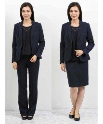 m.f.editorial/高機能ポリエステル 1釦ジャケット+スカート+スラックス チェック紺/502669755