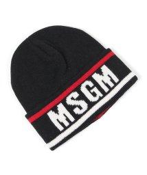 MSGM/2740 ML10 カシミヤ混 ウール ニットキャップ ニット帽 リブ 帽子 ロゴ 99/ブラック他 メンズ/502672116