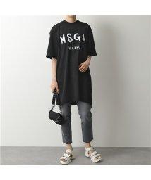 MSGM/MDA168 MDA68 DRESS ペイントロゴ オーバーサイズ Tシャツ チュニック ワンピース カラー2色 レディース/502672121