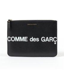 COMME des GARCONS/SA5100HL HUGE LOGO レザー フラットポーチ クラッチバッグ BLACK/502672200