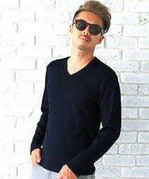 LUXSTYLE/ジャガードロンT/ロンT メンズ Tシャツ Vネック 長袖 ジャガード ヘリンボーン BITTER ビター系/502679395