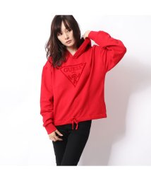 GUESS/ゲス GUESS VELVET TRIANGLE LOGO HOODED PARKA (WEAR ME RED)/502682038