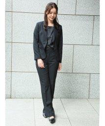m.f.editorial/高機能ポリエステル 1釦ジャケット+スカート+スラックス シャドーストライプ黒/502518321