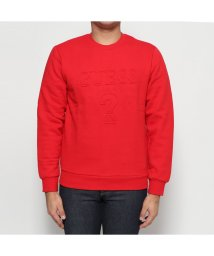 GUESS/ゲス GUESS EMBOSS LOGO L/S CREW SWEAT (RED)/502685859