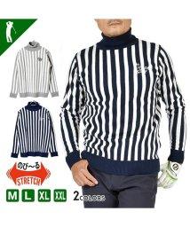 SantaReet/【COMON GOLF】12Gジャガード織りタートルネックボーダーゴルフセーター(CG-ST917SK)/502685968