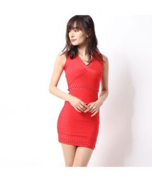 GUESS/ゲス GUESS SL MIRAGE METAL EFFECTS DRESS (FLAME SCARLET)/502686794