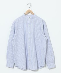 coen/オルタネイトストライプバンドカラーシャツ/502675821