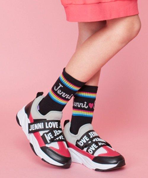 JENNI love(ジェニィラブ)/レインボーラインリブクルーソックス/02496408