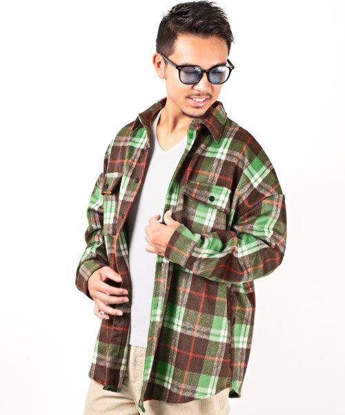 LUXSTYLE(ラグスタイル)/ビッグシルエットネルシャツ/シャツ メンズ 長袖 ネルシャツ ビッグシルエット/pm-8883
