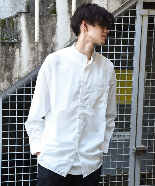 revenil(ルヴニール)/オーバーサイズバンドカラー長袖シャツ/625333