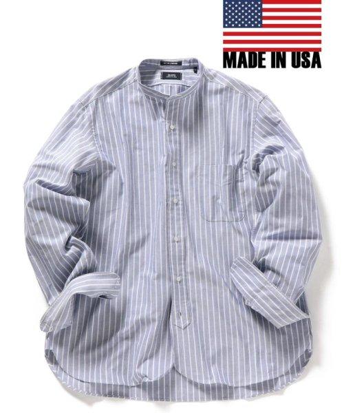 SHIPS MEN(シップス メン)/SHIPS×IKE BEHAR: アメリカ製 ストライプ オックスフォード バンドカラー シャツ/111135565