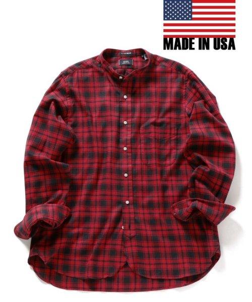 SHIPS MEN(シップス メン)/SHIPS×IKE BEHAR: アメリカ製 バッファローチェック バンドカラー ネルシャツ/111180095
