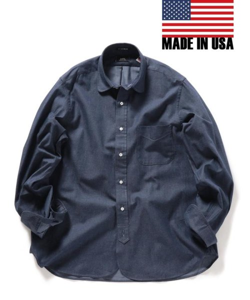 SHIPS MEN(シップス メン)/SHIPS×IKE BEHAR: アメリカ製 デニムトーン ラウンドカラー シャツ/111135567