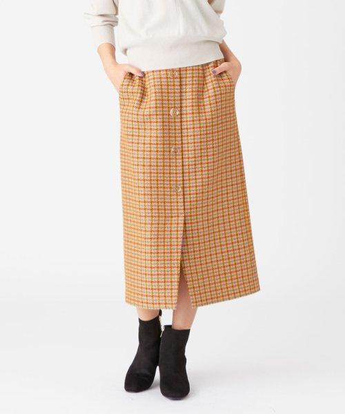 EMMEL REFINES(エメル リファインズ)/SMF ツイードチェック クリアボタン Iラインスカート/66241991462
