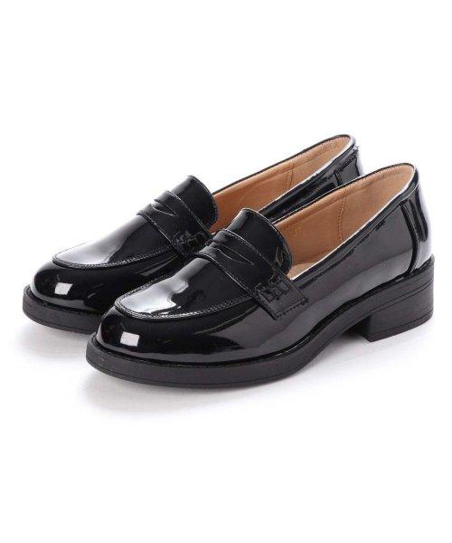 AAA PLUS feminine(サンエープラスフェミニン)/SFW サンエープラスフェミニン AAA? feminine おじ靴'マニッシュコインローファー/3571 (ブラックエナメル)/AA2911BW00043