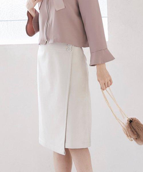 tocco closet(トッコクローゼット)/フラワービジュー付きラップタイトスカート/186132596