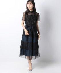 Eimy Peral/【ドレスライン】レース×ドットチュール袖付きドレス/502595336