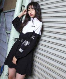 ZIDDY/【ニコプチ掲載】ミニ裏毛ハーフジップ袖ロゴワンピース/502552377