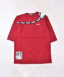 ZIDDY/肩開きロゴジャカードロングTシャツ/502637099