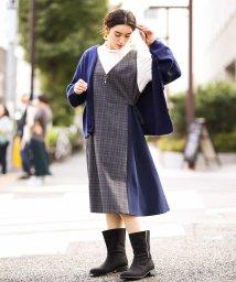 eur3/【大きいサイズ】異素材切り替えジャンパースカート/502699189