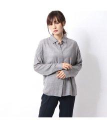 Rename/リネーム Rename 隠しボタンチェックシャツ (グレー)/502700188