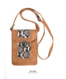 GROWINGRICH/[バッグ 鞄 雑貨 小物]パイソン柄縦型ショルダーポーチ[190911]印象的な小物をひとつ/502702531