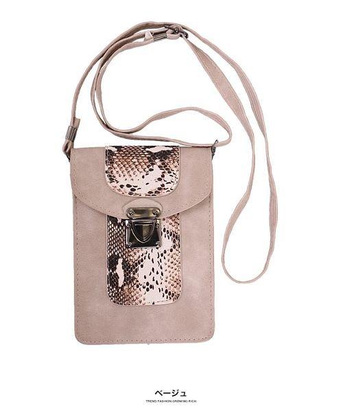 GROWINGRICH(グローウィングリッチ)/[バッグ 鞄 雑貨 小物]パイソン柄縦型ショルダーポーチ[190911]印象的な小物をひとつ/190911