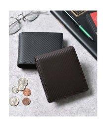 Add+/アッド Add+ 本革カーボンレザー二つ折り財布 コンパクトミニウォレット (ダークブラウン)/502702945