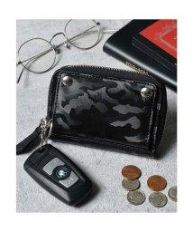 Add+/アッド Add+ 本革 シャドーカモ ラウンドジップ コインポケット付キーケース (ブラック)/502702972