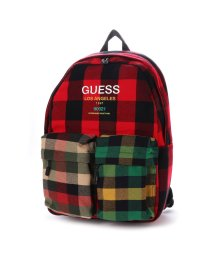 GUESS/ゲス GUESS LOGO MULTI BLOCK CHECK BACKPACK (RED)/502705075