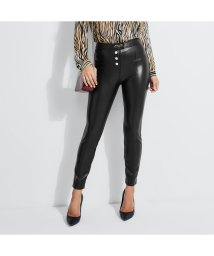 GUESS/ゲス GUESS LEXY HIGH-RISE FAUX-LEATHER PANTS (JET BLACK MULTI)/502705931
