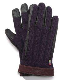 Orobianco(Glove)/タッチパネル対応レザーコンビケーブル編みニット手袋/502563277