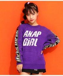 ANAP GiRL/ラインロゴニットトップス/502675103