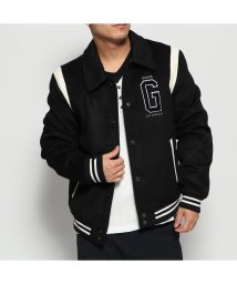 GUESS/ゲス GUESS COLLEGE LOGO VARSITY BOMBER JACKET (JET BLACK)/502705907