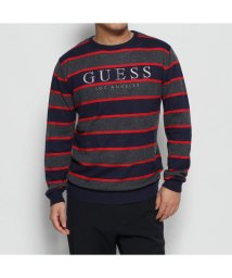 GUESS/ゲス GUESS RAYURES LOGO STRIPE SWEATER (GREY BLUE RED STRIPES)/502705909