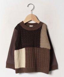 petit main/ニットパッチワークTシャツ/502676805
