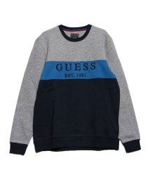 GUESS/ゲス GUESS CLEM COLOR-BLOCK LOGO FLEECE SWEAT (GREY AND G7G4/G720 BLOCKING)/502711894