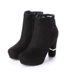 Mafmof/マフモフ Mafmof Mafmof(マフモフ) BLACK切替ヒールのショートブーツ (ブラック・スエード)/502711941