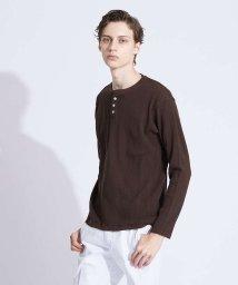ABAHOUSE/変形ワッフル ヘンリーネックロングTシャツ/502712091