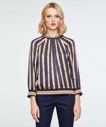 SISLEY/サテンプリントスタンドカラーシャツ・ブラウス/502703797